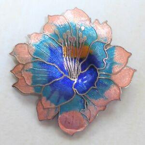 Cloisonné Enamel Vintage Brooch Large Oriental Lily Flower Pink Blue Turquoise