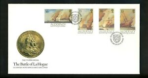 Postal History Alderney FDC #65-68 Military Navy Battle La Hogue tall ship 1992