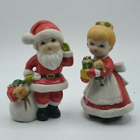 Vintage Homco Christmas Boy & Girl Dressed as Santa & Mrs Claus Figures 5401
