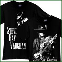 STEVIE RAY VAUGHAN Rock Band Tribute Song CD Music Black T-Shirt TShirt