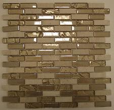 1qm Marmormosaik Fliese beige Glas Marmor 30,4 x 29,8 x 0,8cm Küche Bad Dusche