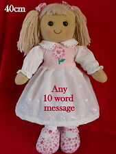 x PERSONALISED RAG DOLL BIRTHDAY FLOWERGIRL christening baby ANY MESSAGE 40cm 1