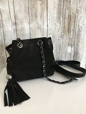 CHANEL Three CC Fringe Drawstring Chain Crossbody Shoulder Bag Black Suede VTG
