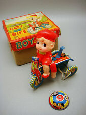 VTG Tin Aoki Japan Boy On Bike Celluloid Wind Up Toy Parts Original Box