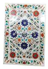 """14""""x10"""" Marble Serving Tray Plate Marquetry Floral Inlay Kitchen Art Gifts H2721"""
