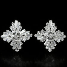 Sterling Silver 925 Bright White Lab Created Diamond Cluster Earrings #4