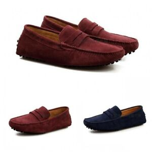 Fashion Men's Casual Driving Loafers Suede Leather Moccasins Slip On Penny Shoes