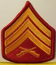 Sergeant USMC Rank Insignia Embroidered Iron-On Patch SGT E-5 Emblem Red  Border