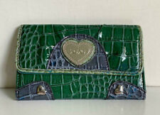 NEW XOXO HUGS & KISSES EMERALD GREEN FLAP CLUTCH CHECKBOOK WALLET PURSE $34 SALE