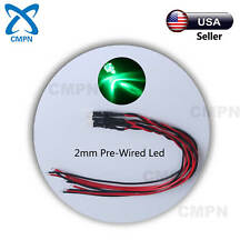20Pcs 2mm Pre-Wired DC 9-12v Green Light LED Diodes Round Top Water Clear 20CM