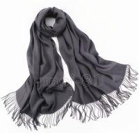 New Winter Men's Pure Dark Gray Soft Warm Pashmina 100% Cashmere Neck Scarf