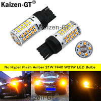 No Hyper Flash Amber 21W 7440 W21W LED Bulbs For Front/Rear Turn Signal Lights