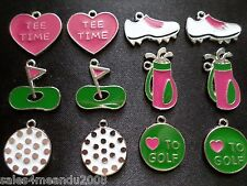 12 Enamel Women Golf Clubs Shoes Balls Tees Jewelry Making Earrings Charms G2