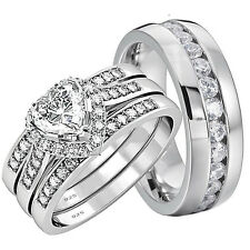 10 Ring Sterling Silver Engagement Wedding Ring Sets With