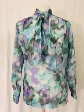 Vintage 1970's Secretary Career Blouse Bow At Neck Women's Small
