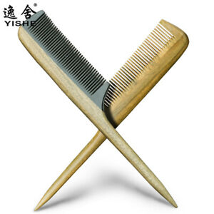 Chinese Green Sandalwood & Black Oxen Horn Anti-Static Hair Massage Wooden Comb