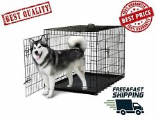 "Extra Large dog kennel crate 42"" Pet  folding cage metal 2 doors w/ tray pan XL"