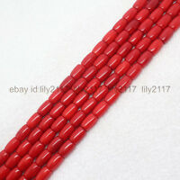 "Beautiful 7x10mm Red Coral Barrel beads Tube Loose Beads 15""AAA"