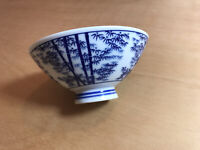 Vintage Small Japanese Ceramic Footed Rice Bowl Blue & White Bamboo Pattern. VGC