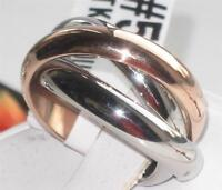 TK1670  RUSSIAN  WEDDING BAND RING ROSE  UNISEX INTERLOCKING  STAINLESS STEEL