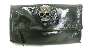Thomas Wylde Scull Patent Leather Clutch Bag