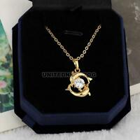 18K Gold Plated Playing Couple Dolphin Crystal Necklace Pendant Chain Jewelry