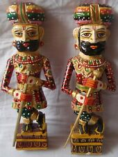 Pair of rajasthani wooden statue handicraft painted royal gate keeper watch man