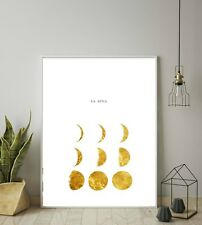 Moon Phases Gold Print, La Luna in Golden Wall art, Printable art, Moon Space