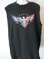 Large MEN'S Black TANK TOP SLEEVELESS SHIRT USA 1776 eagle