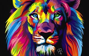 Abstract Lion - Colourful Splash Paint Large Wall Poster & Canvas Picture Prints
