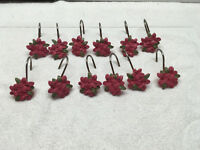 shower curtain hooks 12  flowers hot pink resin floral