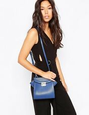 NEU Glamouröse @ Topshop Leder Look Royal Blau Cross Body Schulter Kasten Tasche Boho