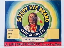 Original 1930 Sleepy Eye Brand Eggs – Indian Chief – Unused Crate Label