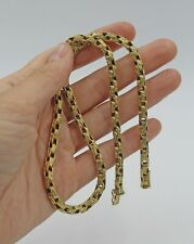 "Vintage German 14K Yellow Gold Brutalist Heavy Link Chain Necklace 18 ¾"" 5 mm"