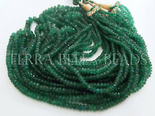 """7"""" natural ZAMBIAN EMERALD faceted precious gem stone rondelle beads 2mm - 4mm"""