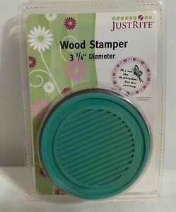 Justrite CIRCLE Wood Stamper Mount Rubber Stamp 3 1/4 Inch NIP