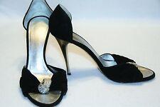 Giuseppe Zanotti Black Suede Open Toe Rhinestone Knot Evening Stiletto Womens 9