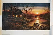 Terry Redlin Evening Solitude Camping Sunset  Art Print-Framed