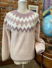 Barefoot Dreams Pink Multi CozyChic Nordic Pullover Sweater New