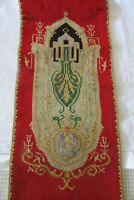 Beautiful Antique French Handmade Chapel Wool Cotton mix Tapestry Panel c1900s