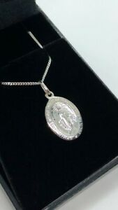 SILVER 925 SMALL MIRACULOUS MARY MEDAL PENDANT + CURB CHAIN NECKLACE BOXED