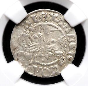 "LITHUANIA. Alexander I ""The Jagiellonian"", 1501-1506. 1/2 Groschen, NGC AU58"