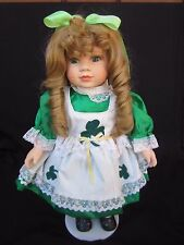 """""""IRISH Porcelain 15"""" Doll By YLM 1994 Blonde Hair & Beautiful Dimples with Stand"""
