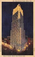 Akron Ohio~First National Tower Home Of Akron National Bank~1940 Postcard