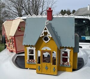 Vtg Wood Cottage Dollhouse Handmade Assembled Completed Furnished 50+ Pieces