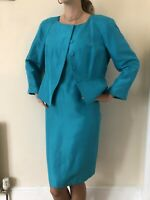100% Silk Suit L.K.Bennett Uk 16 Dress Jacket Pencil Azure Blue Mother Of Bride