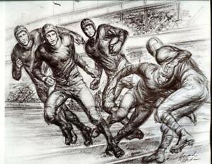 Rare Vtg Football Game Sketch Drawing Howard Brodie 1940s Litho Art Print Sports