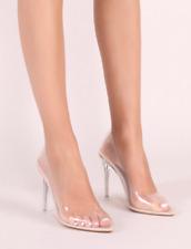 Mujer señoras Pointy Tribunal Zapatos De Salón Tacón Alto Fiesta De Vidrio Perspex Kim K Fiesta