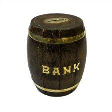 Hand Crafted Wood Beer Barrel Money Box - Barrel Keg Coin Bank Tip Box