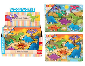 8pc Chunky Dinosaur Wooden Jigsaw Puzzle Kids Educational Learning Toy Gift